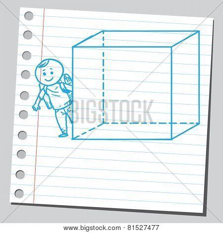 Schoolkid behind cube