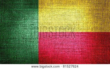 Benin flag on burlap fabric