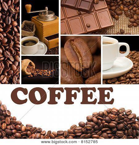 Collage aus duftendem Kaffee
