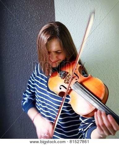 Beautiful, Young Violinist Playing Violin, Close-up