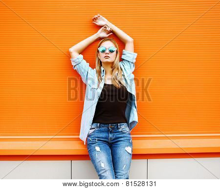 Summer, Fashion And People Concept - Bright Stylish Pretty Blonde Posing In Sunglasses Against Color