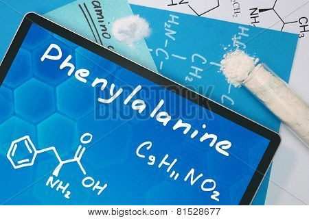 Tablet with the chemical formula of  Phenylalanine