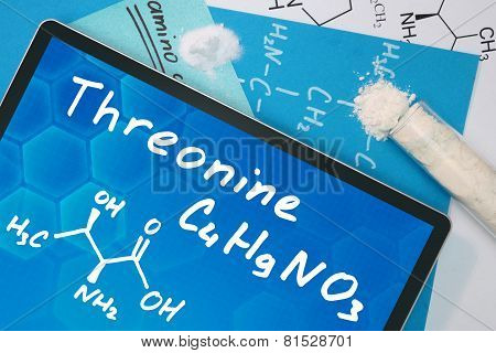 Tablet with the chemical formula of Threonine