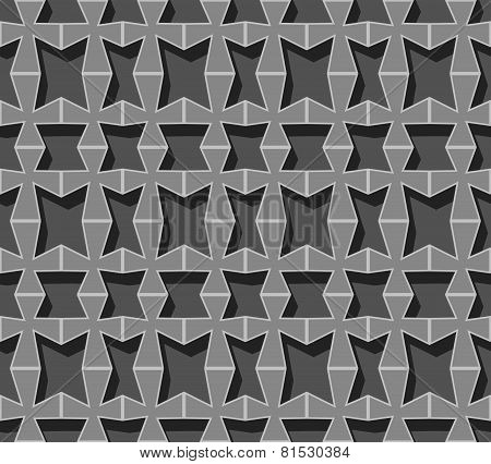 Vector Seamless Background. Grey Volumetric Grid