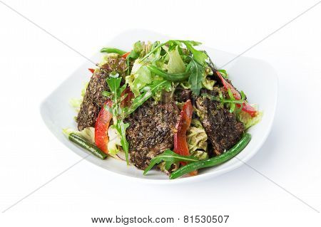 Restaurant Food Isolated - Fried Beef Salad