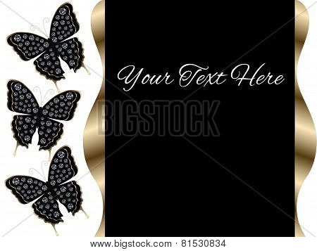 Three Black Butterflies Presentation Slide Background