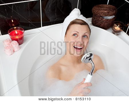 Beautiful Woman Singing While Having A Bath
