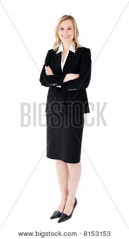 A Confident Businesswoman With Folded Arms