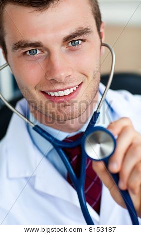 Glowing Doctor Holding A Stethoscope