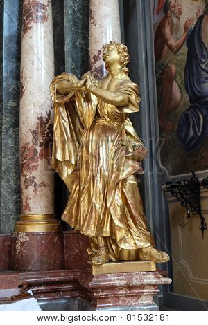 GRAZ, AUSTRIA - JANUARY 10, 2015: Saint John the Evangelist, altar of the Holy Cross, Barmherzigenkirche church in Graz, Styria, Austria on January 10, 2015.