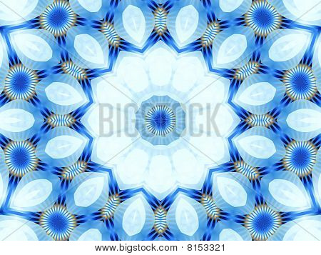 simulated white flower and petals in circle