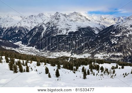 Mountains ski resort Solden Austria - nature and sport background