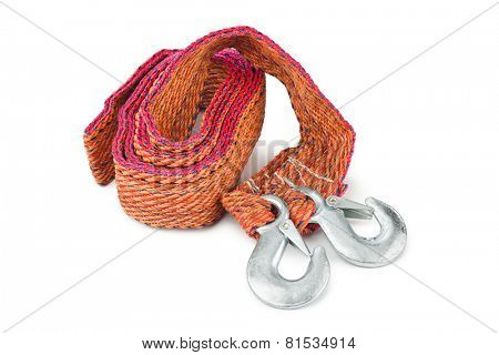 Car towing rope with metal hooks isolated on white background