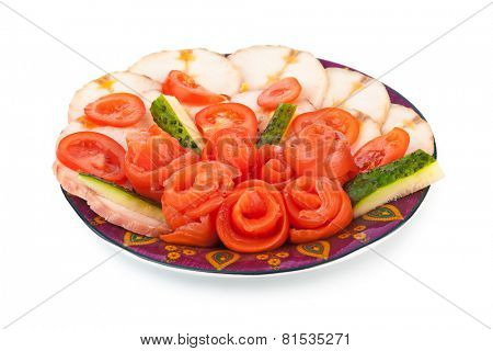 Plate of salmon and sturgeon fish isolated on white background