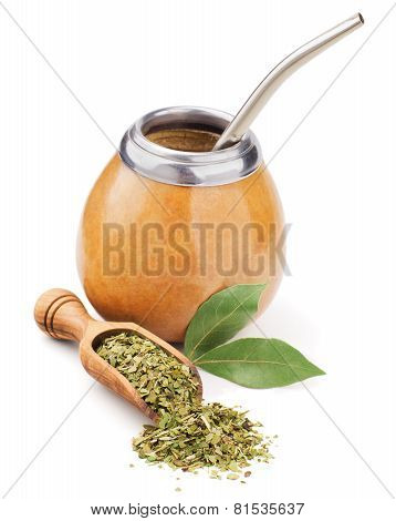 scoop with dry mate tea and calabash