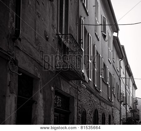 Varzi, old city centre. Black and white photo