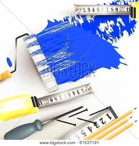 Grunge Background With Repair Instruments Roll, Ruler And Pencils