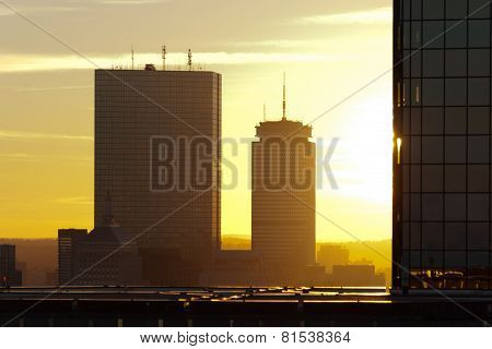 Boston Skyscrapers At Sunset