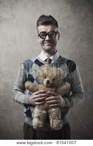 Guy Holding A Teddy Bear