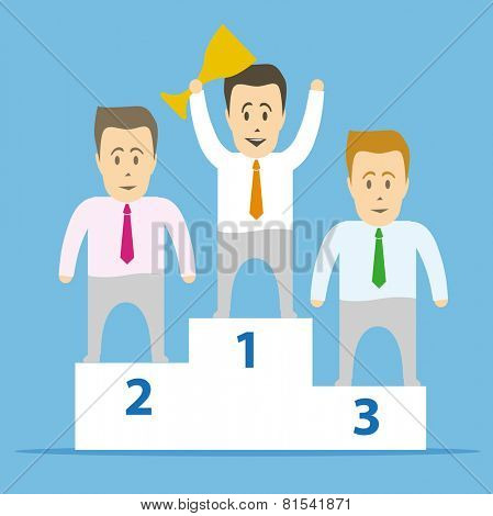 Podium and the winner with the cup in the first place. The most successful businessman.