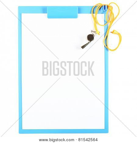 Clipboard with whistle isolated on white