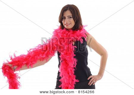 woman with pink boa
