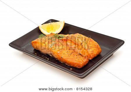 Grilled Salmon With Lemon On White