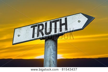 Truth sign with a sunset background