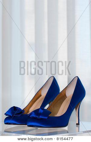 Bride's Blue High Heel Shoes