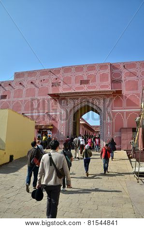 Jaipur, India - December 29, 2014: People Visit The City Palace Complex