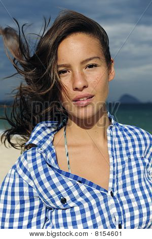 Wind: Woman With Tousled Hair At The Sea