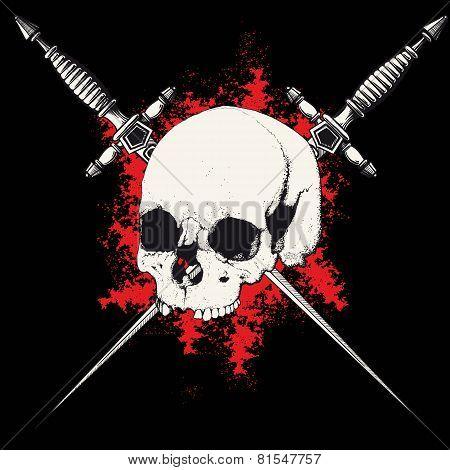 skull and dagger black