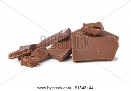 Broken Chocolate Bar On A White Background