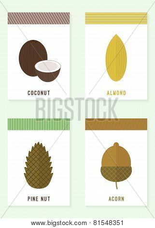 Cards With Nuts. Vector Illustration