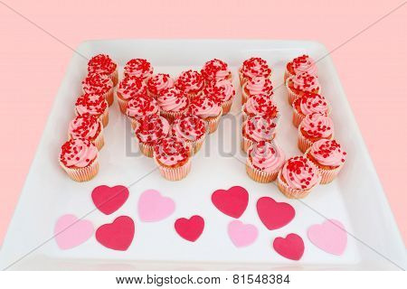 Strawberry Cupcakes Spell I Love U On Tray