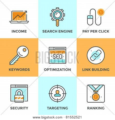 Seo And Web Optimization Line Icons Set