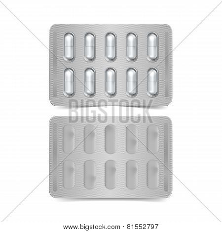 Vector Pack of Capsules Isolated on White