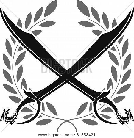 Dragon Sabers And Laurel Wreath