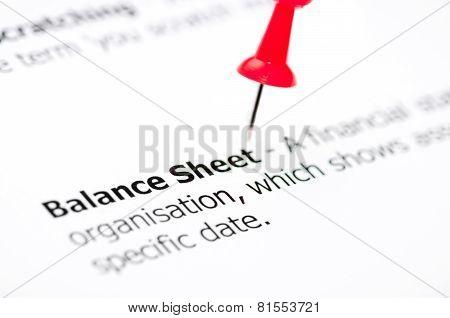 Closeup Shot Over Word Balance Sheet On Paper