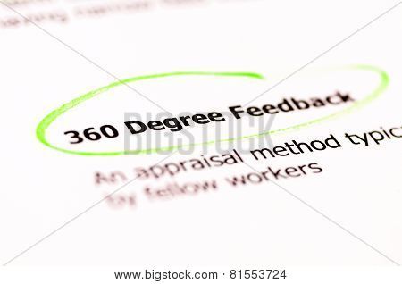 Closeup Shot Over Words 360 Degree Feedback On Paper