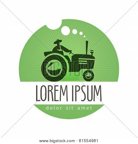 tractor vector logo design template. farm or natural product icon.