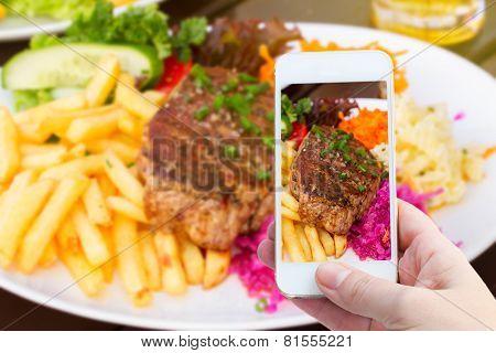 making photo of steak