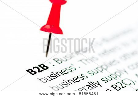 Closeup Shot Over Word B2B On Paper