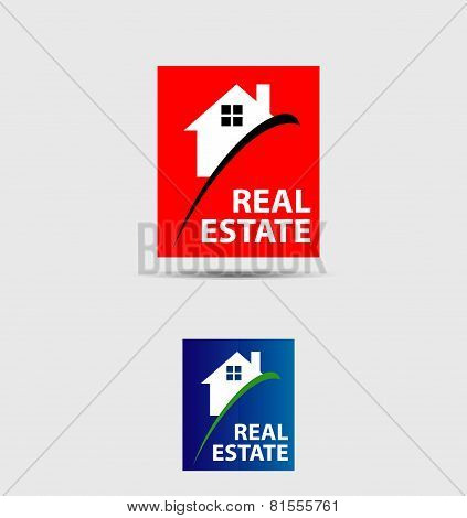 House abstract real estate countryside logo design template
