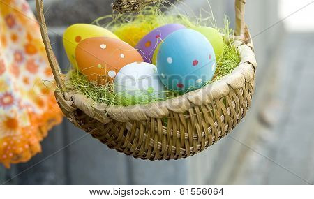Easter.   A Wattled Basket With The Decorated Eggs