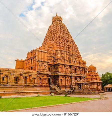 View At The Tower Hindu Brihadishvara Temple, India, Tamil Nadu, Thanjavour,  (trichy), Panorama