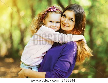 Portrait Lovely Mother And Child Together Outdoors