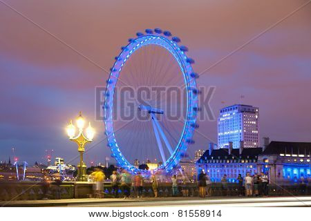 London eye in the night lights