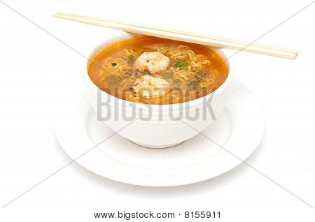 Bowl Of Shrimp Soop With Noodles