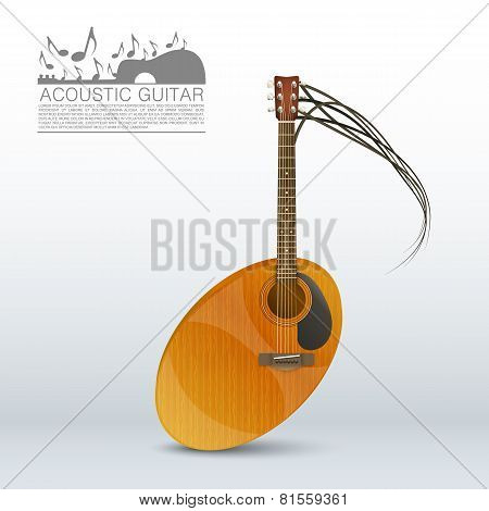 Acoustic guitar in the form of notes
